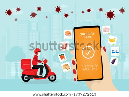 A flat vector concept design of grocery online shopping via mobile device during Coronavirus pandemic on a city background. Online Grocery and home delievery service illustration.  Photo stock ©