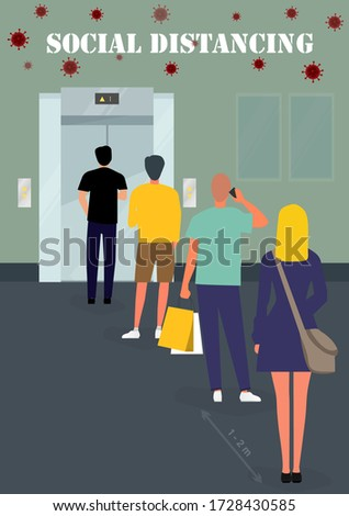 A flat vector design concept of Social Distancing in the elevator during Coronavirus (Covid-19) pandemic. People maintain social distancing while waiting for the elevator info-graphic illustration.