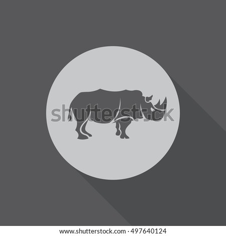 a flat vector icon of a rhino