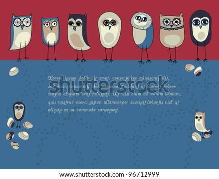 A Flock of Colorful Owls - Background, with colored eggs, red and blue