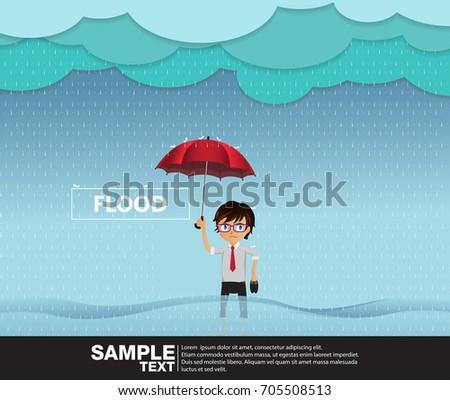 A flood rainy season, Man standing holding an umbrella in water.Vector Illustration