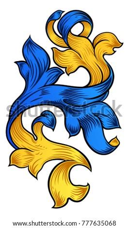 A floral scroll filigree pattern heraldry ornamental design