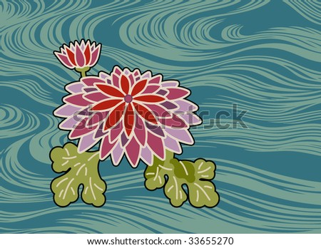 a flower and water drawn in the traditional Japanese manner
