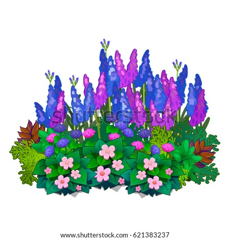 A flower bed with bright colored flowers isolated on white background. Vector cartoon close-up illustration.