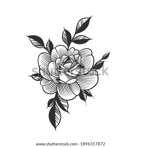 A flower, floral tattoo. Can be used as a sketch of a tattoo.