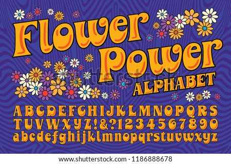 A flower power hippie themed font. This alphabet is in the style of late 60s and early 70s psychedelic artwork and lettering.