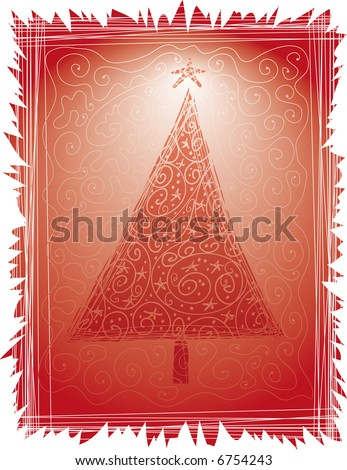 a folk Christmas tree into a frame with swirls