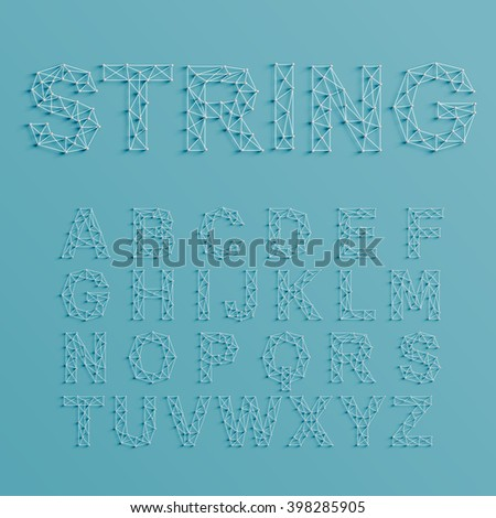 A font set made by pins and lines forming net, 3D and realistic, vector