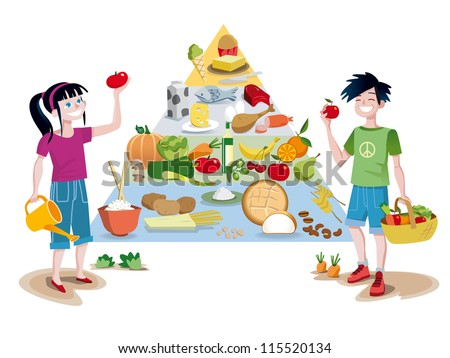 food guide pyramid of healthy foods divided into sections to show 450