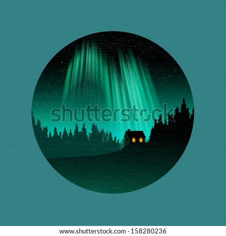 a forest and house silhouetted