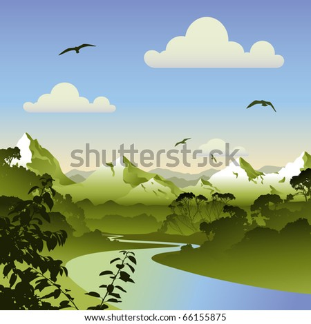 a forest landscape with river