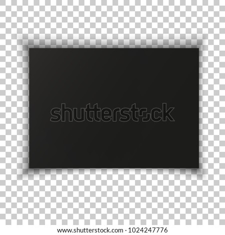 A4 format blank paper. Vector illustration isolated on transparent background. Black paper box. Realistic frame wall sign dark darkness high quality wall shadows blend copyspace pattern template