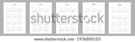 A5 format. Organizer and bullet journal printable pages. Perfect minimalist calendar. 2021, 2022, 2023, 2024, 2025. Week starts at Monday. European English Gregorian calendar. Planner. Vector.