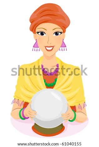 A Fortune Teller Holding Her Crystal Ball - Vector - stock vector