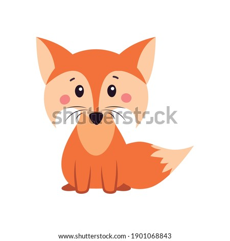 A fox. Orange fox. Fox can use a logo or badge. Vector illustration on white isolated background.