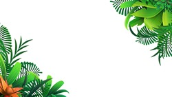 A frame of tropical leaves around a white empty space. Elegant backdrop decorated with foliage of exotic jungle plants. Natural frame or border. Vector illustration.