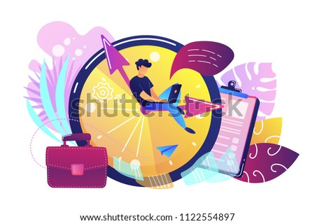 A freelance developer sitting on the clock hands with a laptop. Time management, productivity, efficiency, work rate, perfomance concept, violet palette. Vector illustration on white background.