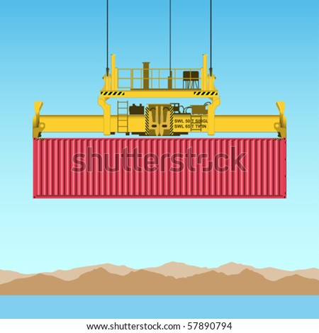 A Freight Containers on Crane at the Docks