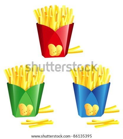 A french fry in a colorful paper bags