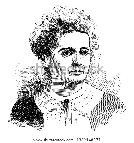 A French physicist and chemist famous for her work on radioactivity. She was the first person honored with two Nobel prizes, in physics and chemistry, vintage line drawing or engraving illustration. Photo stock ©