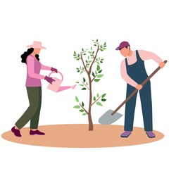 A friendly man and woman plant and water a tree. Gardener with a watering can. A man with a shovel. Environmental protection concept. Vector flat design illustration. Square layout.