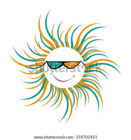 a friendly sun wearing 3d