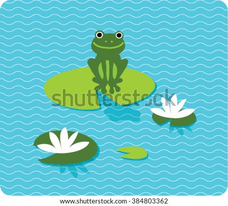 a frog sitting on lily pad on