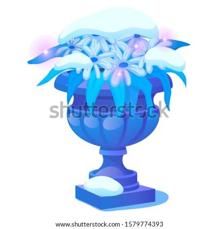 a frozen flower bush under the