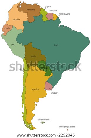 a full color map of south america with the country names called out