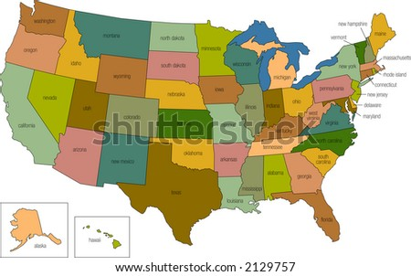 vector : a full color map of the united states of america with the state