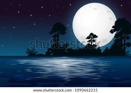A Full Moon Night at the Lake illustration