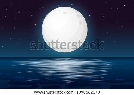 A Full Moon Night at the Ocean illustration