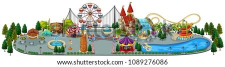 A Fun Amusement Park Map illustration