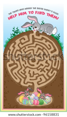 A fun easter game for children. Follow the maze to help the bunny find the chocolate eggs!