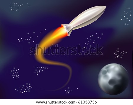 a fun illustration of a rocket flying in space with stars and planet in view