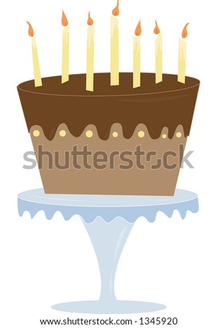 A fun & playful chocolate cake. Fully editable vector illustration.