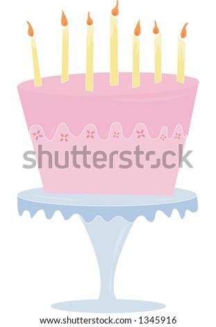 A fun & playful pink cake. Fully editable vector illustration.