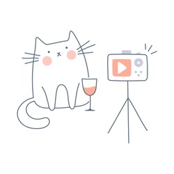 A funny cat sits with wine in front of the camera, makes a photo, selfie, video streaming or recording podcast. Cute isolated smiley vector illustration on white