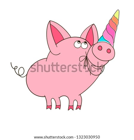 A funny character of a unicorn pig in a cartoon style. Linear vector illustration in a linear style