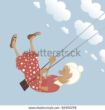 a funny granny on the swing is
