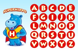 A funny mascot of Hippo in superhero costume, easy to edit and the initials can be change to describe the name of your company or your project.