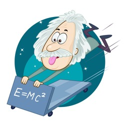 A funny vector illustration of a portrait of Albert Einstein with his Formula