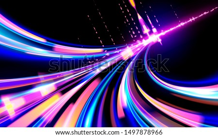 A futuristic illustration in vector of light trails in cyberpunk style, Light speed effect, slow shutter, night urban.