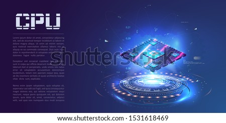 A futuristic projection of the microchip of the future. 3D closeup of cpu for web design. Integrated communication processor. Concept with circuit board and processor. CPU isometric banner.  Vector