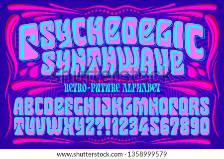 A futuristic reworking of a classic lettering style popular in the 1960s during the psychedelic era. The saturated colors are typical of the vaporwave style.