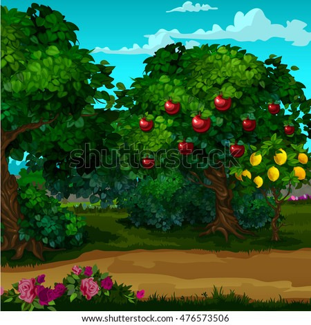 a garden with ripe fruit