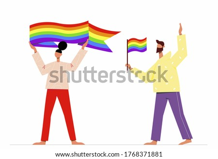 A gay man and a lesbian girl, holding a rainbow flag, and a symbol of equality and protection of gay love. Love parade. Gay pride. LGBTQ, support, freedom symbols. Gay Pride Month. Vector illustration