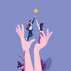 A giant hand helping a businesspeople to reach out for the stars