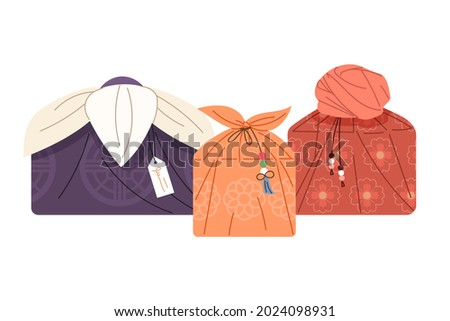 A gift bag to commemorate Korean traditional holidays, Lunar New Year's Day and Chuseok. Holiday event gift concept vector illustration.
