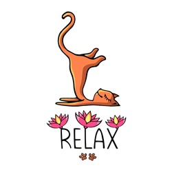 A ginger yoga cat with an inscription decorated with pink lotuses. vector image in the style of children's illustration.